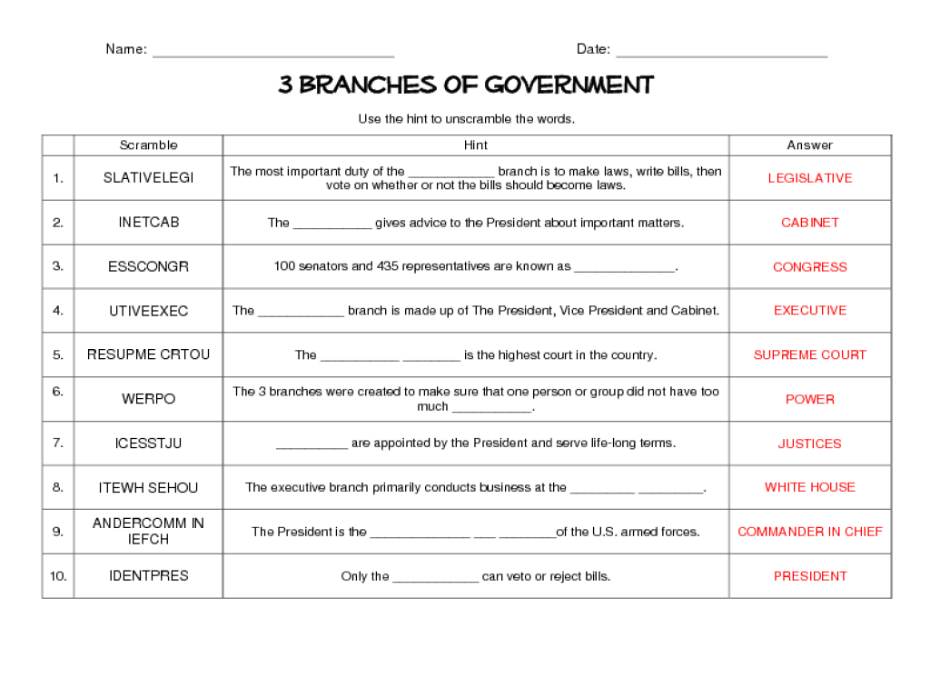American Government Worksheets Answers Worksheets For All