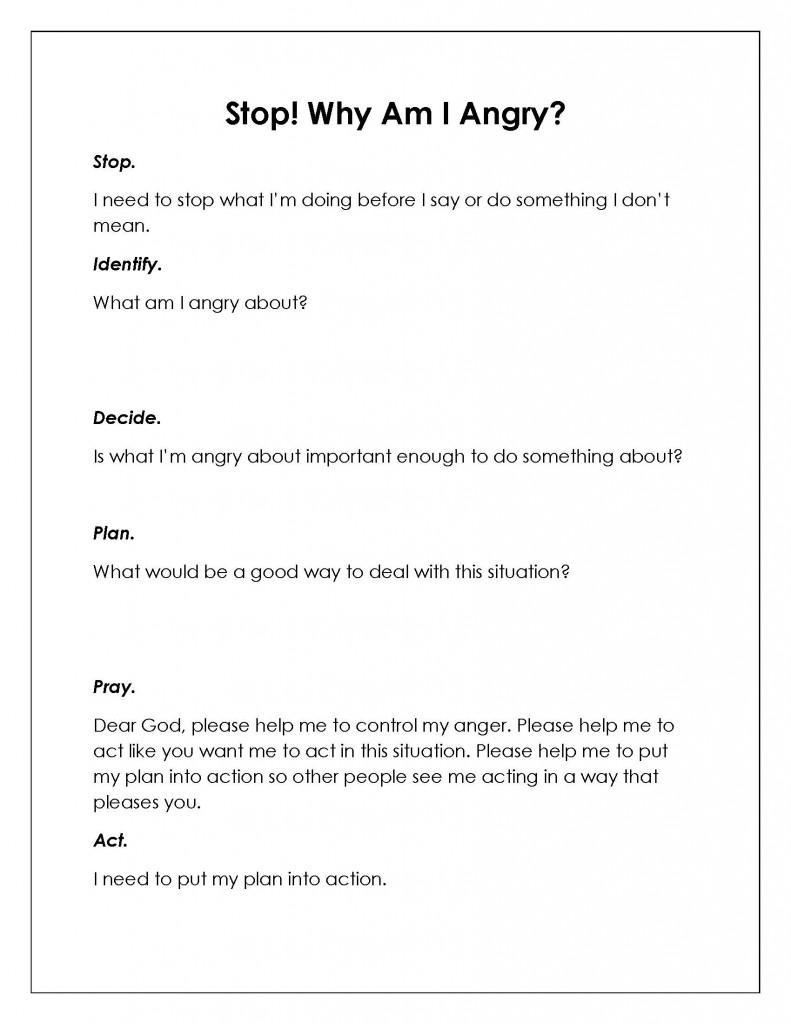 Anger Management Plan Worksheets Worksheets For All
