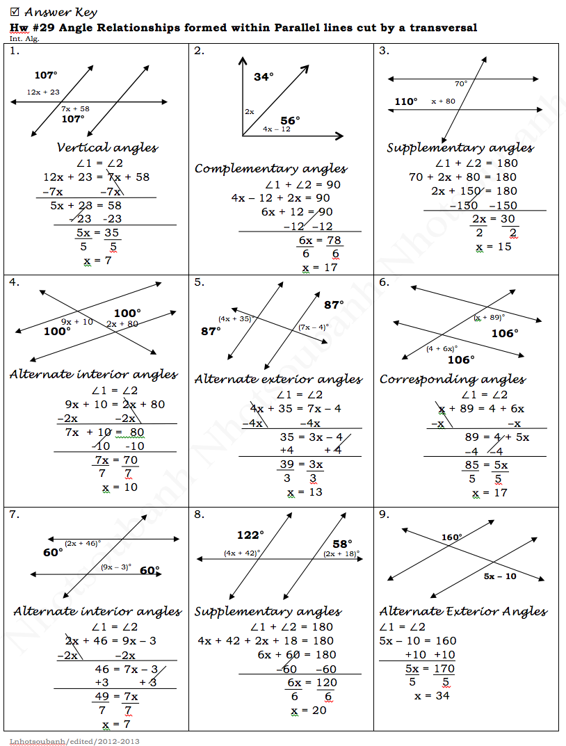 Angle Relationships And Parallel Lines Worksheet Worksheets For