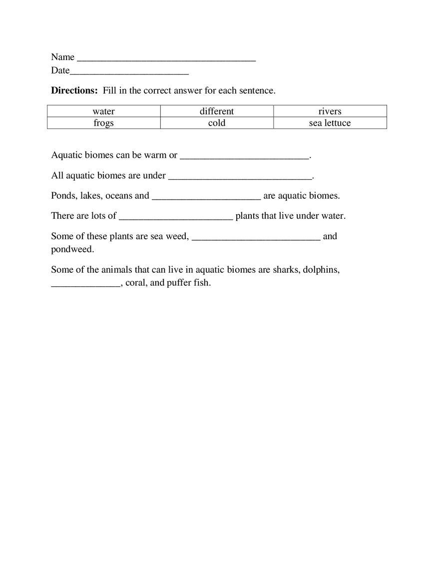 Aquatic Biome Worksheet