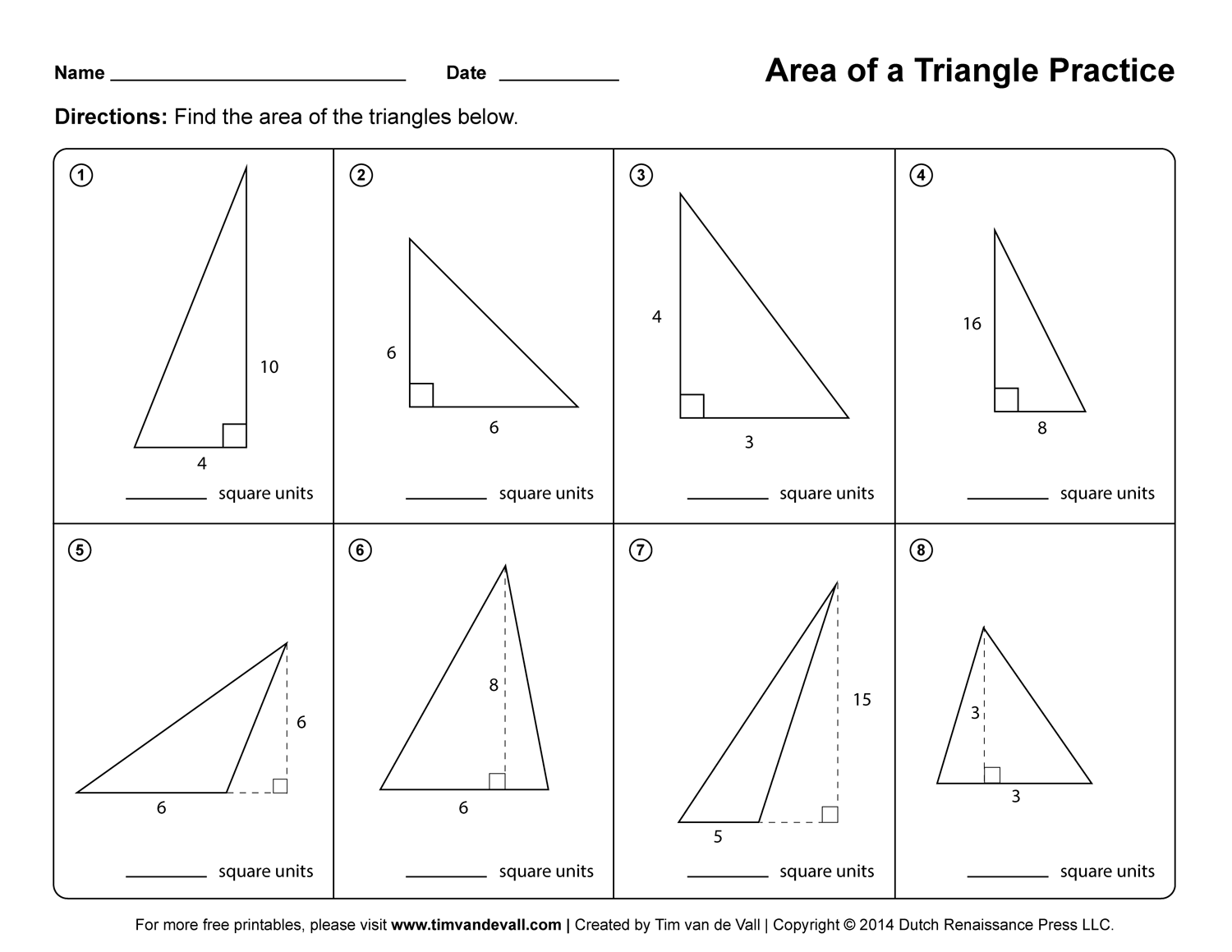 Area Of Triangles And Parallelograms Worksheet Worksheets For All