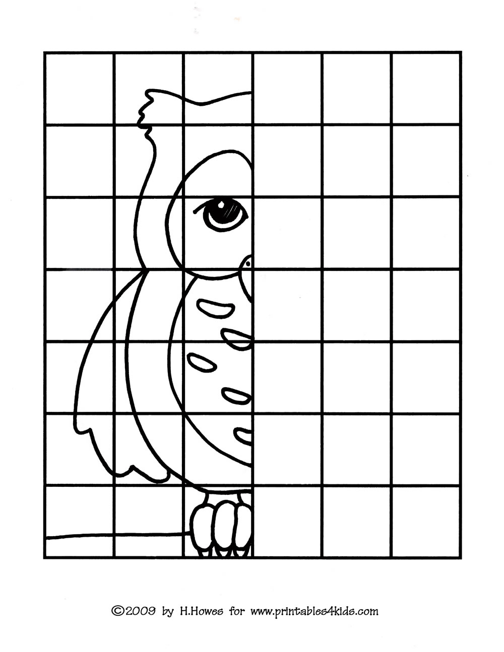 Art Grid Drawing Worksheets Owl Complete The Picture Drawing