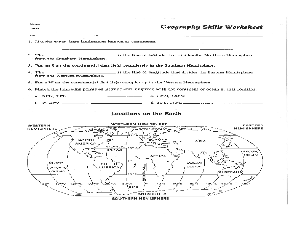 Awesome Collection Of 6th Grade Geography Worksheets Also