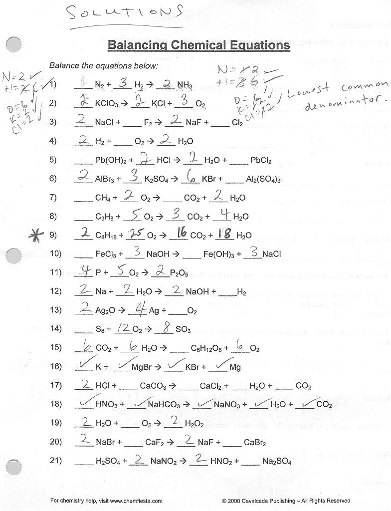 Balancing Chemical Equations Answers Worksheet 1 Applicable