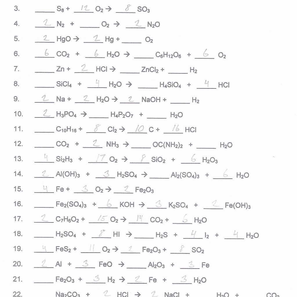 Balancing chemical equations practice worksheet answers chemfiesta