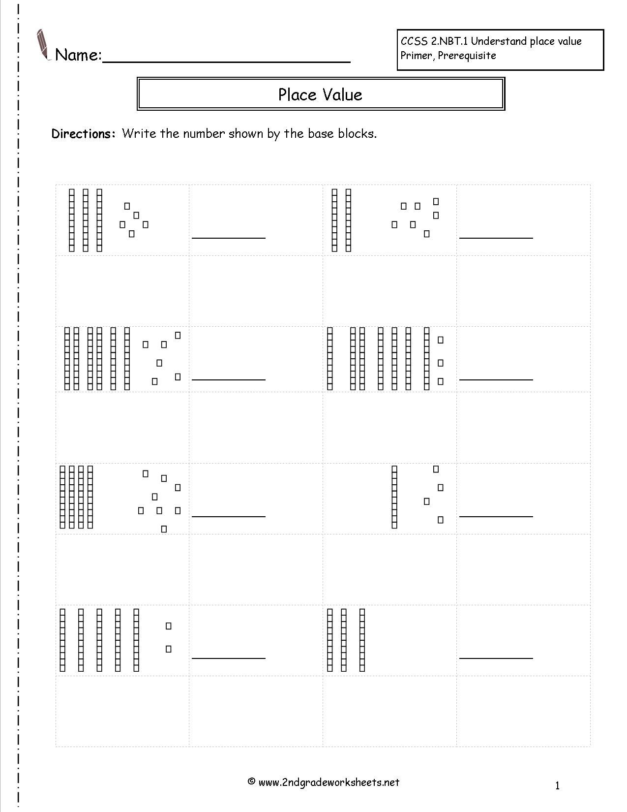 Base Ten Worksheets For First Grade