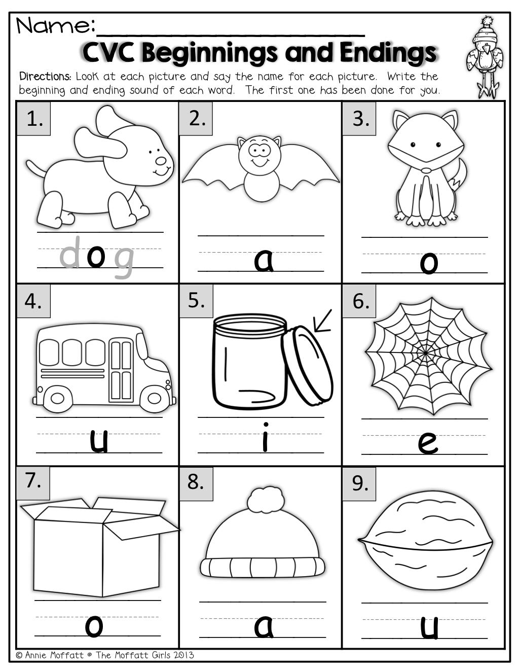 Beginning Sound Worksheets For Kindergarten Math Printable Ending