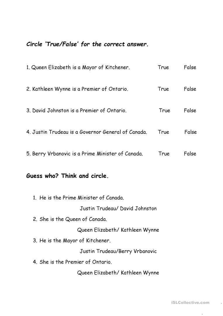 Canadian Government Worksheet