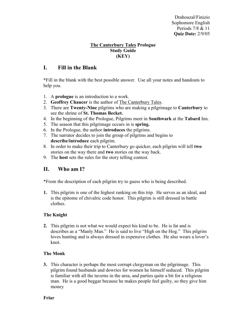 Canterbury Tales Prologue Worksheet Worksheets For All