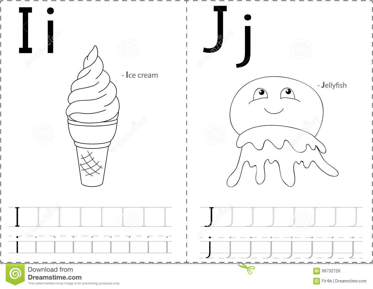 Cartoon Ice Cream And Jellyfish  Alphabet Tracing Worksheet  Wri