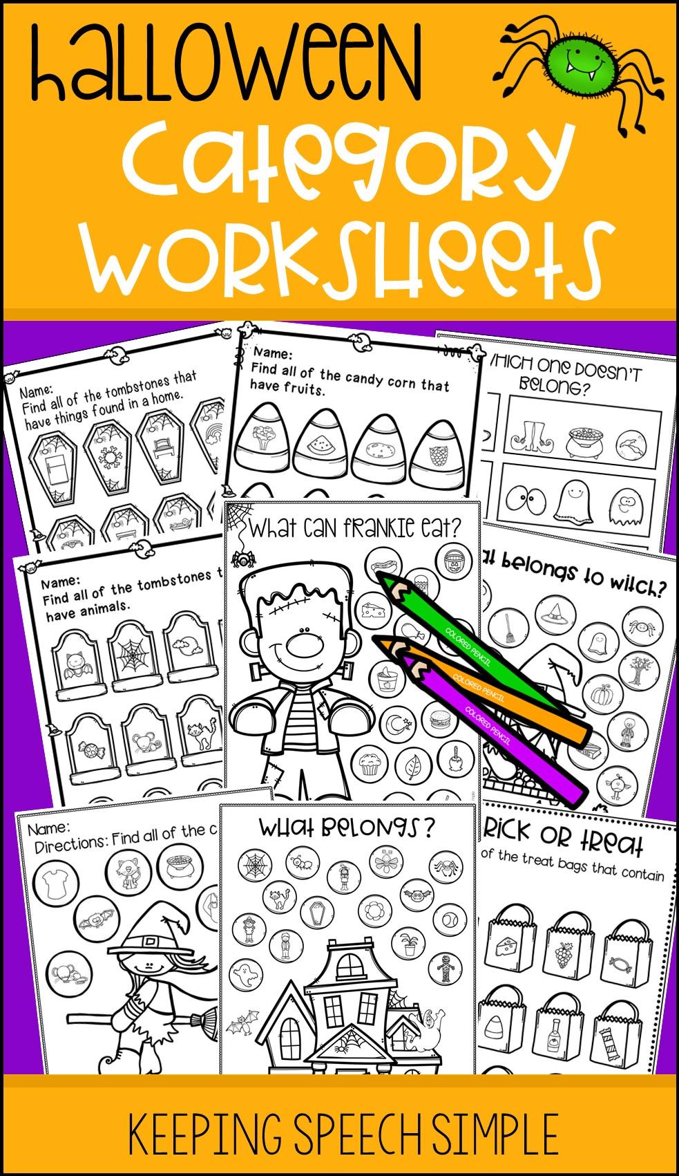 Categories No Prep Worksheets