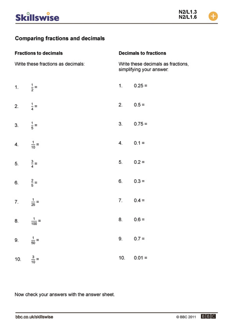 Changing Fractions Into Decimals Worksheets