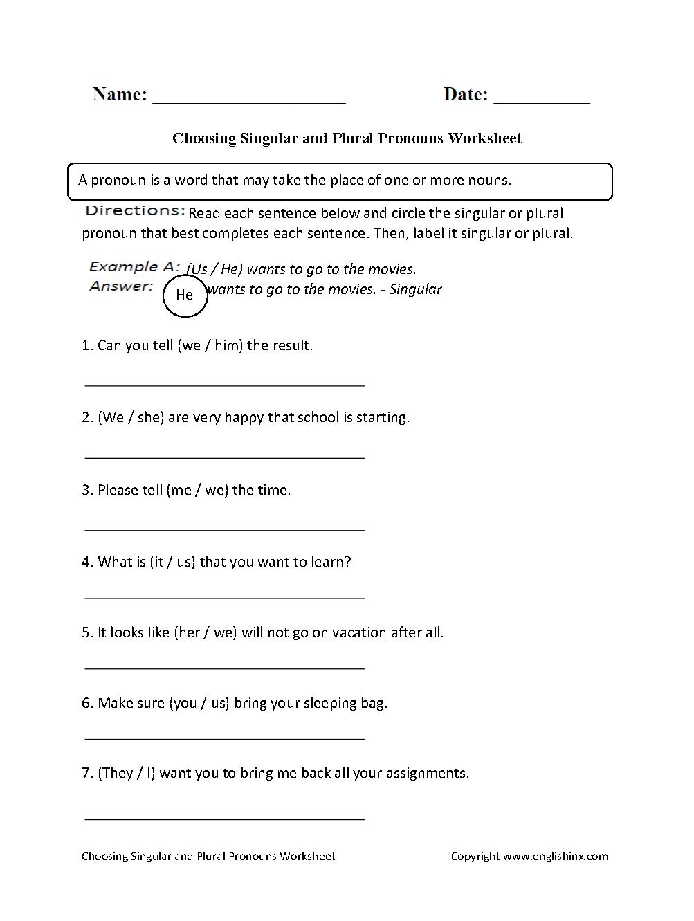 Choosing Singular Or Plural Pronouns Worksheet