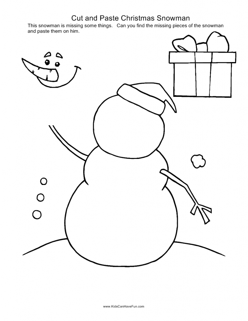Christmas Cut And Paste Snowman
