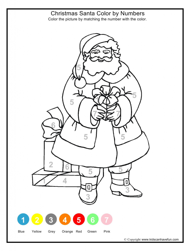 Christmas Santa Color By Numbers 773x1024 Themed Math Worksheets