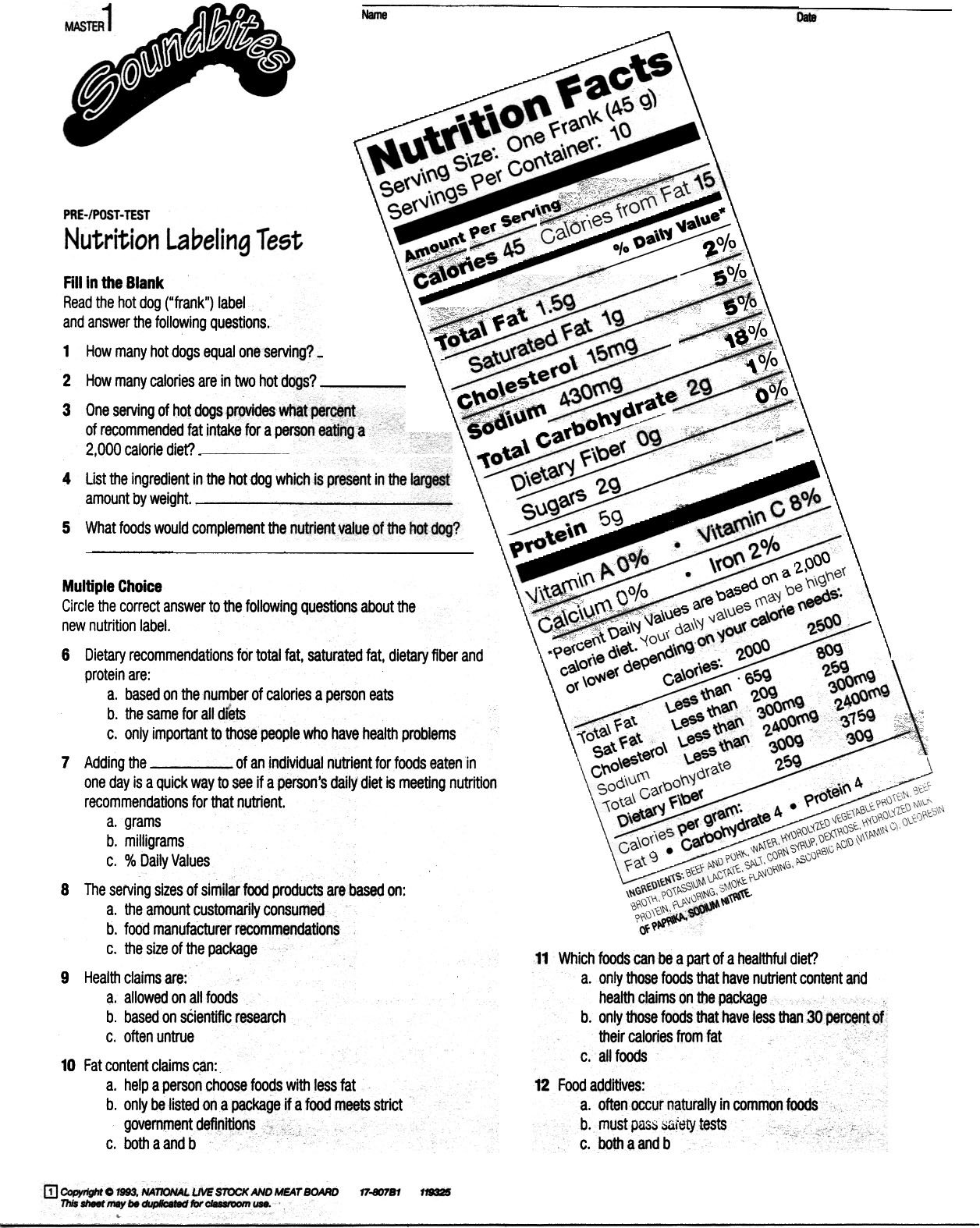 Collection Of Solutions Healthy Eating Worksheets For High School