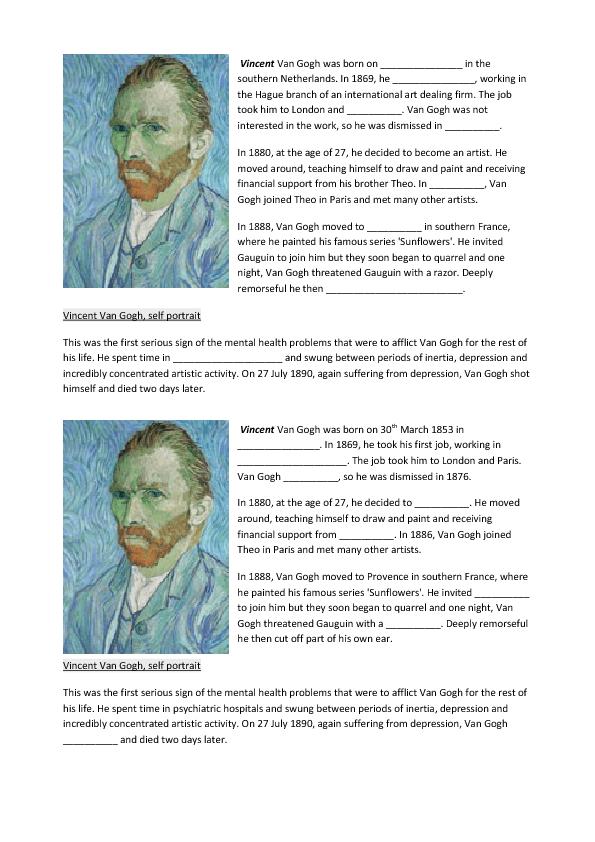 Collection Of Van Gogh Worksheet