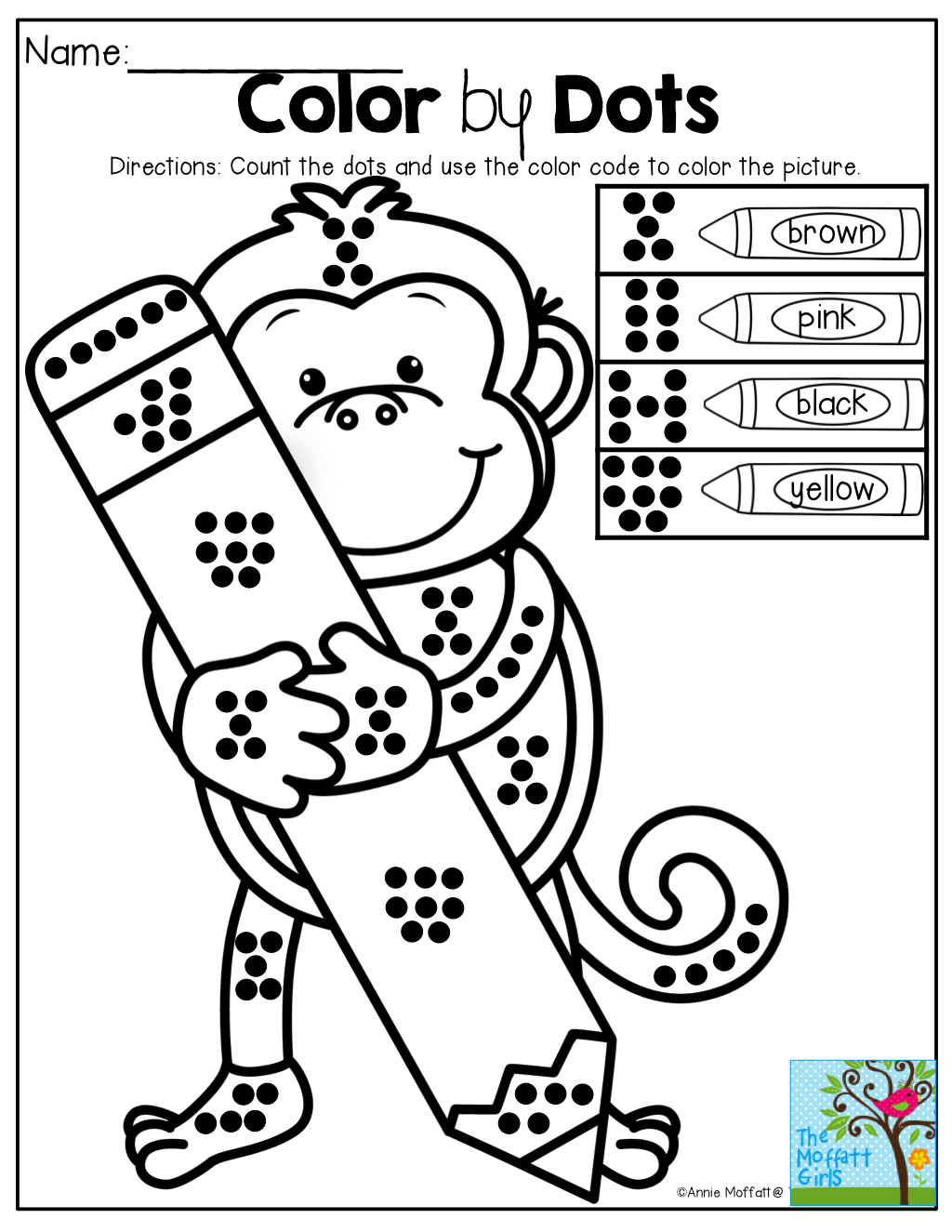 Color By Dots! Great For Counting, Number Sense And Color Word
