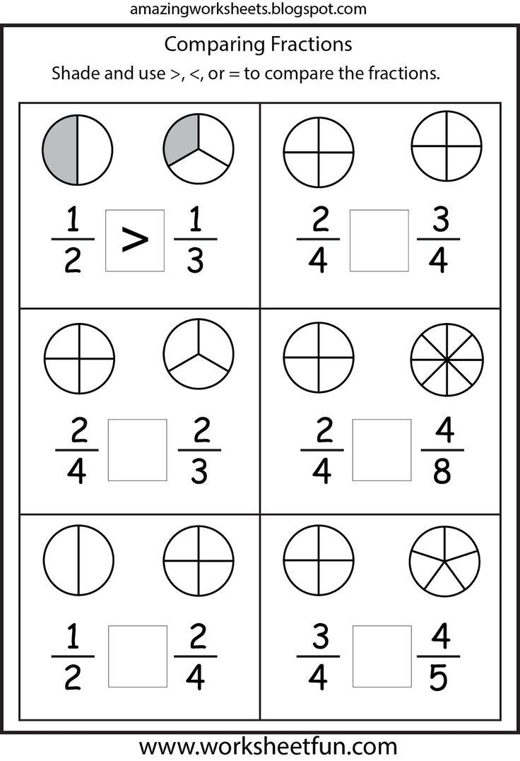 Comparing Fractions Worksheet 3rd Grade Worksheets For All