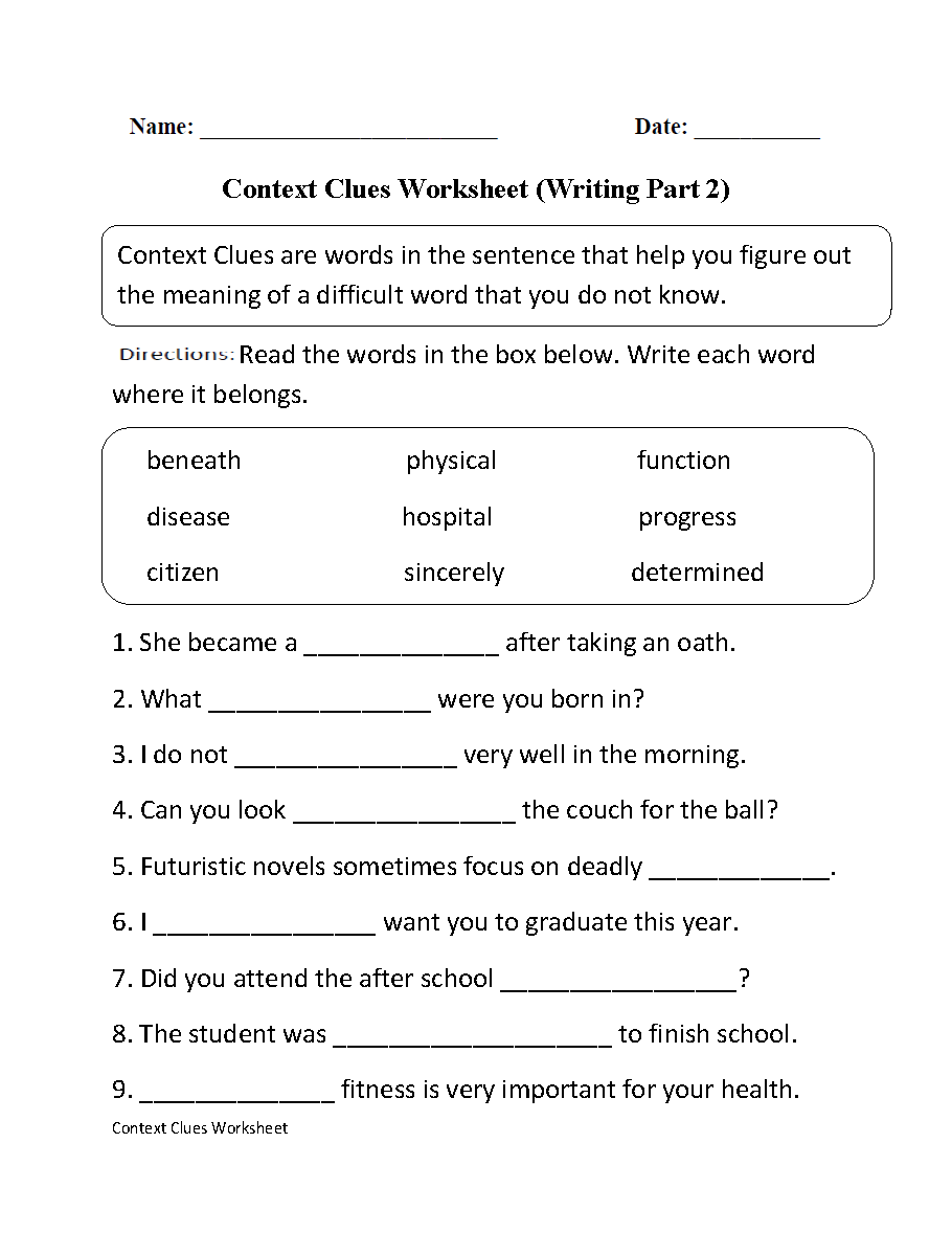 Context Clues Worksheets Middle School
