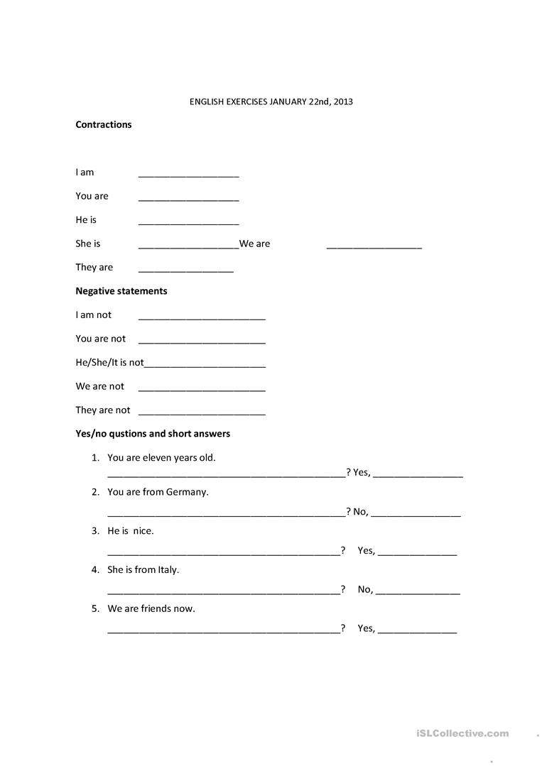 Contractions, Verb To Be Worksheet