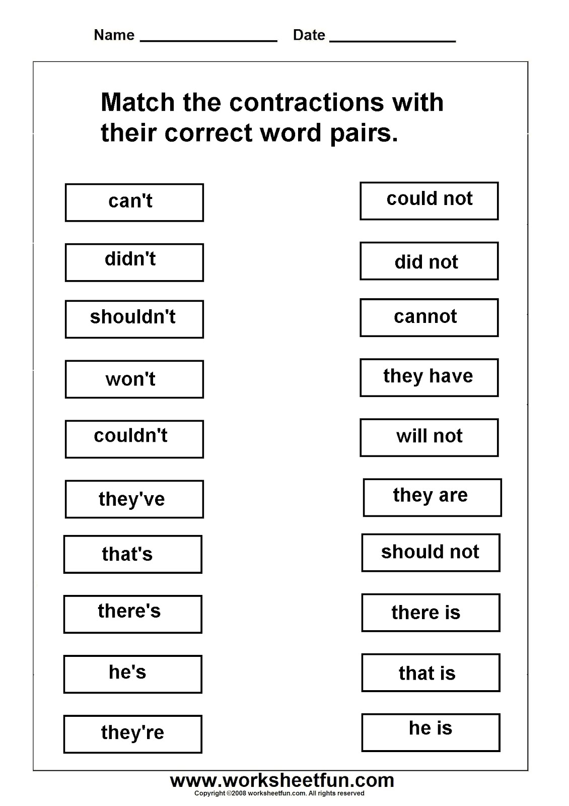 Contractions Worksheets (can T Didn T Shouldn T Won T Couldn T