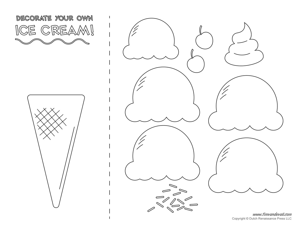 Cream Templates And Coloring Pages For An Ice Cream Party