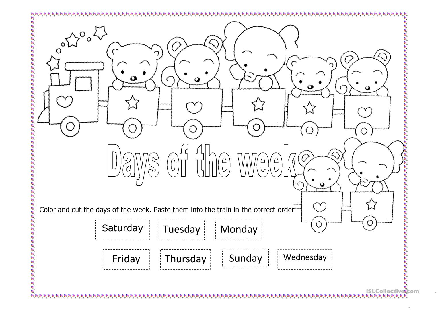 Days Of The Week Worksheet Cut And Paste