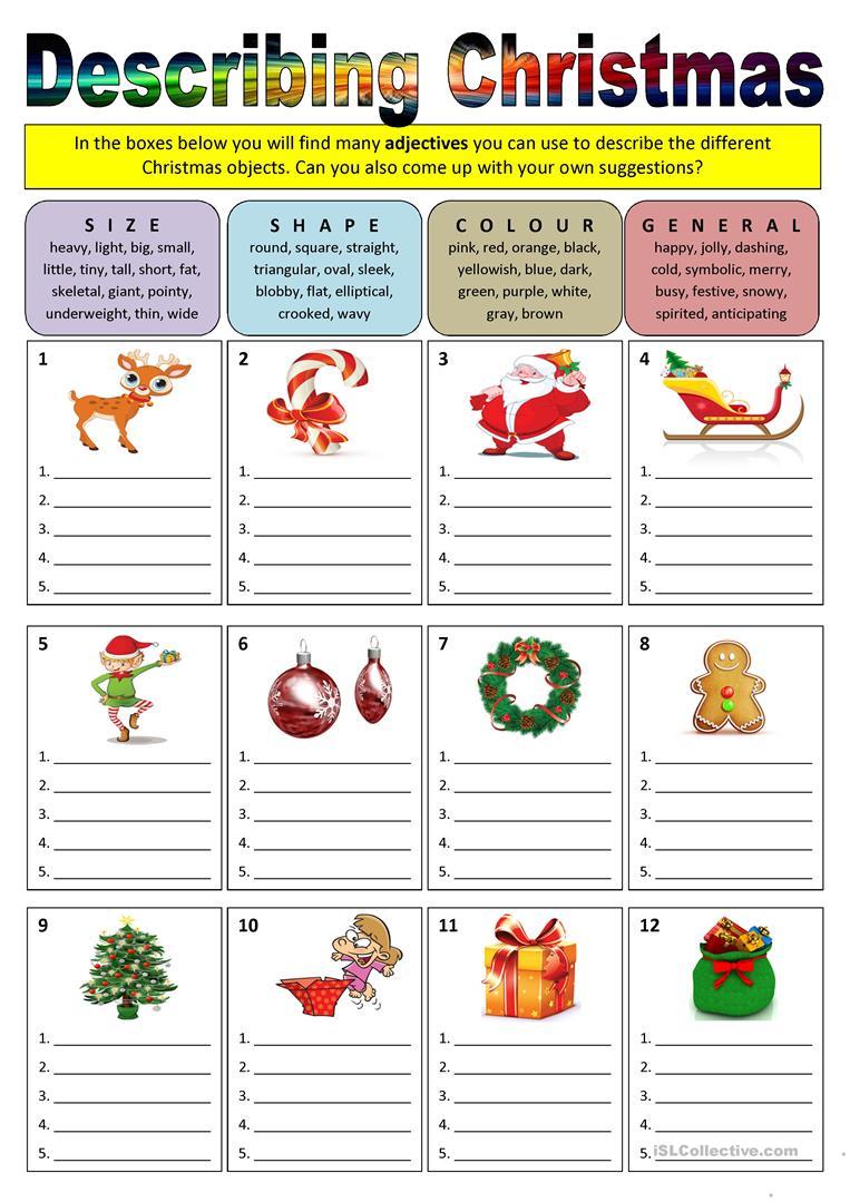 Describing Christmas (adjectives) Worksheet