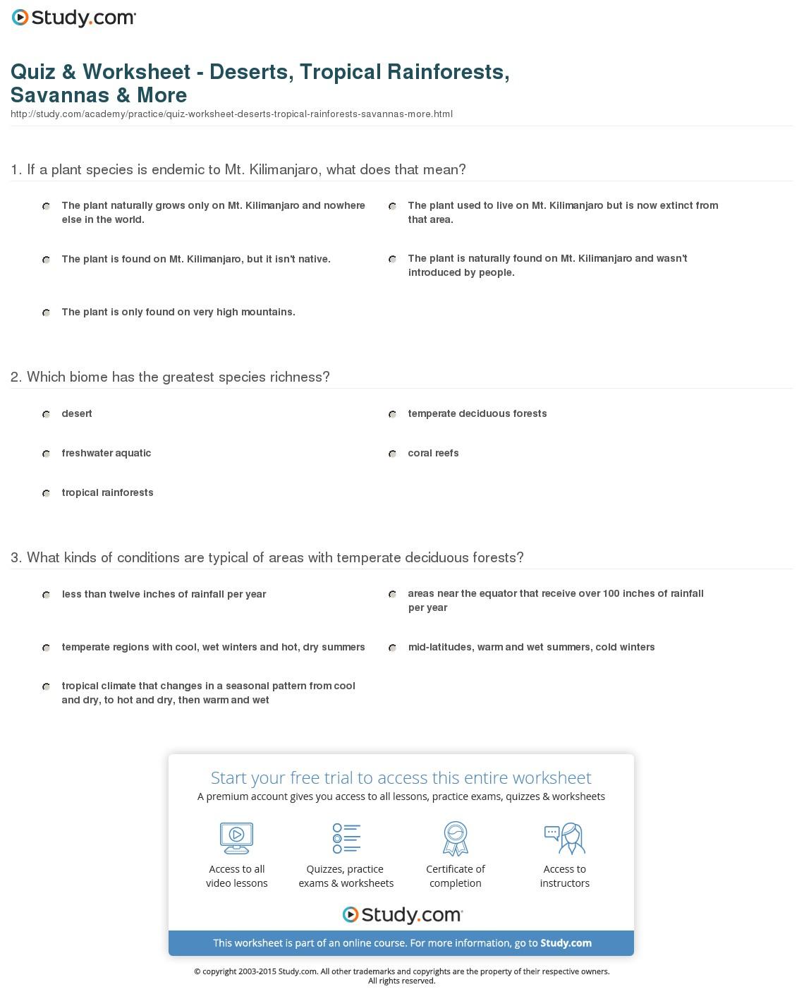 Desert Biome Worksheets Worksheets For All