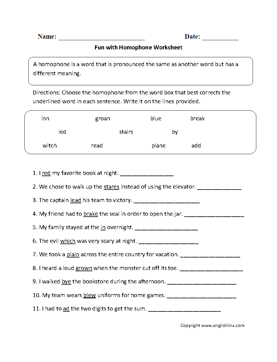 Double Homonyms Worksheet Answers Worksheets For All