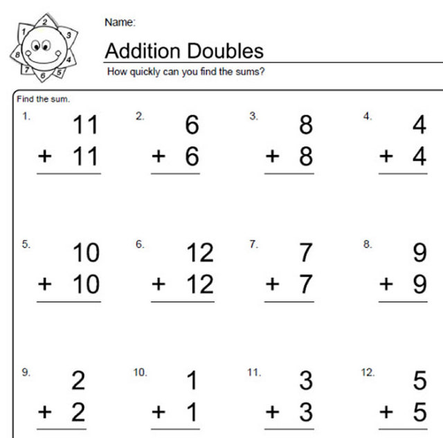 Double Addition Worksheets Stay At Hand. Doubles Addition Worksheets For Kindergarten Kidz Activities. Worksheet. Math Facts Addition Worksheets At Clickcart.co
