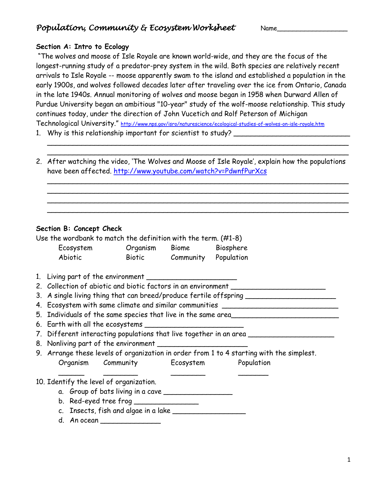 Ecosystems Worksheet Answers The Best Worksheets Image Collection