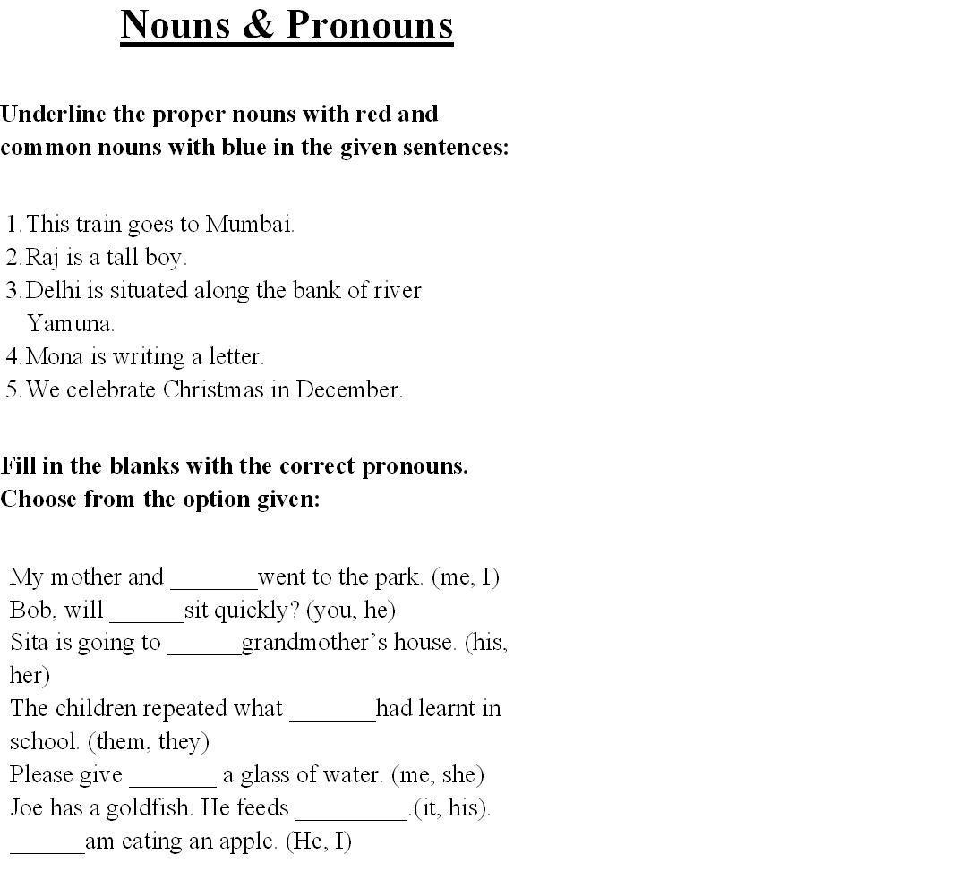 English Grammar Noun Worksheet For Grade 1