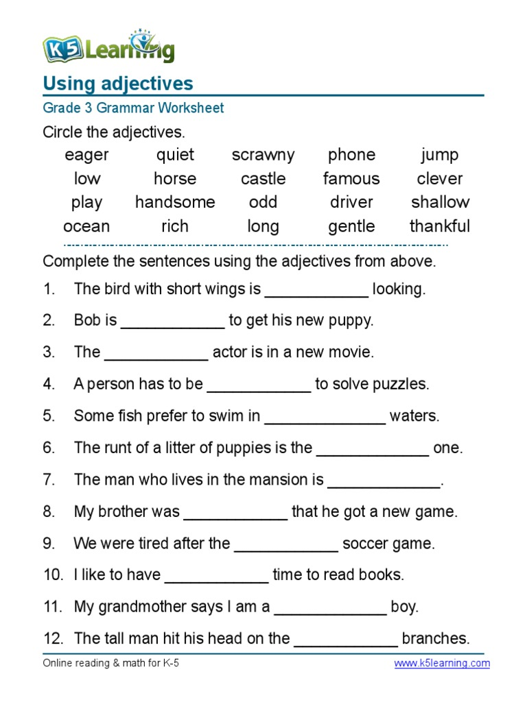 English Worksheets Grade 3 Worksheets For All