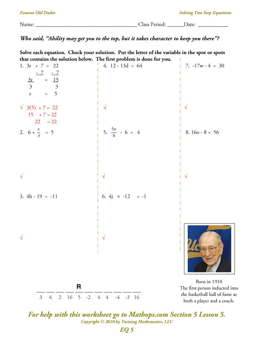Eq05  Solving Two Step Equations