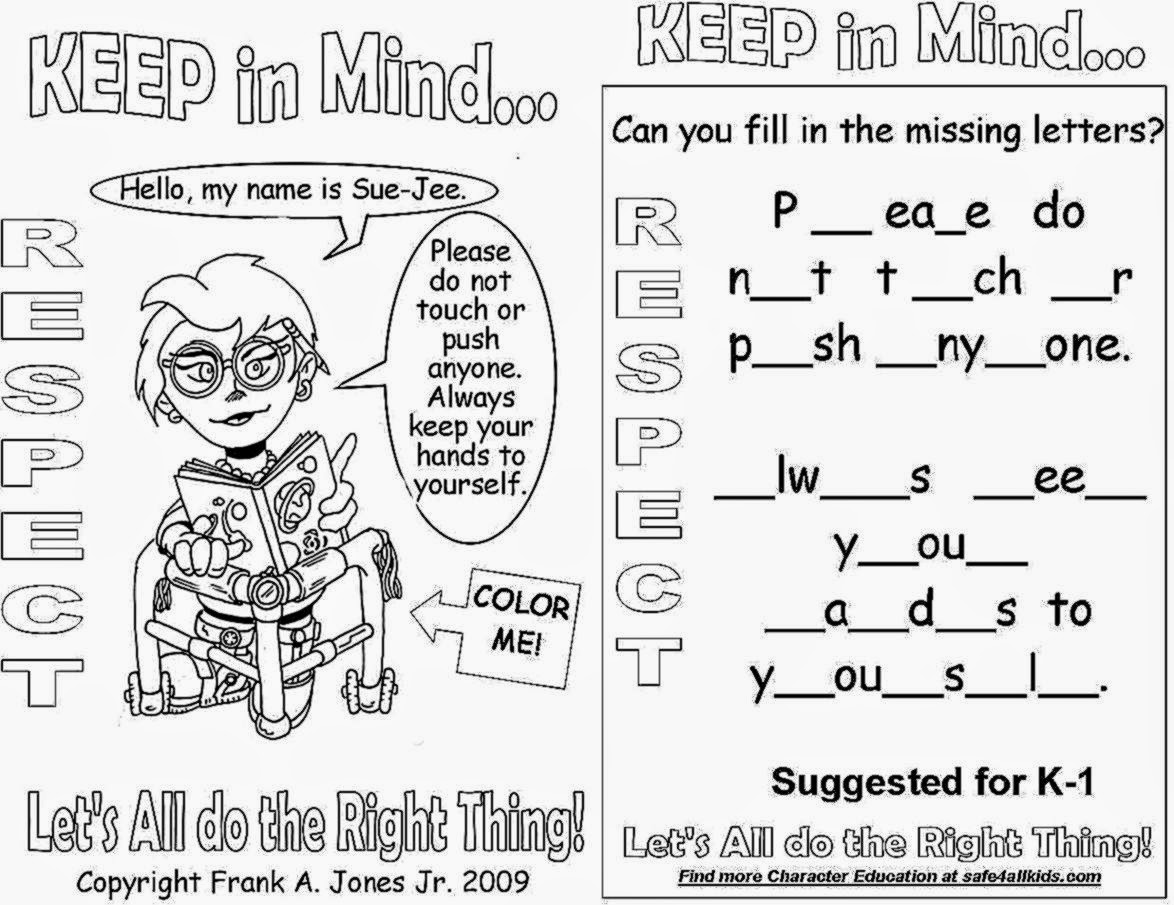 Respect Worksheets For First Grade