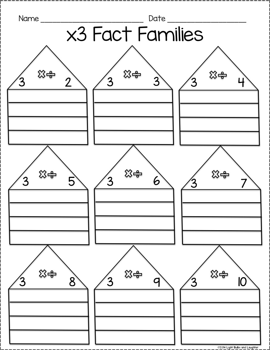 Fact Family Worksheets Multiplication And Division Free Sl