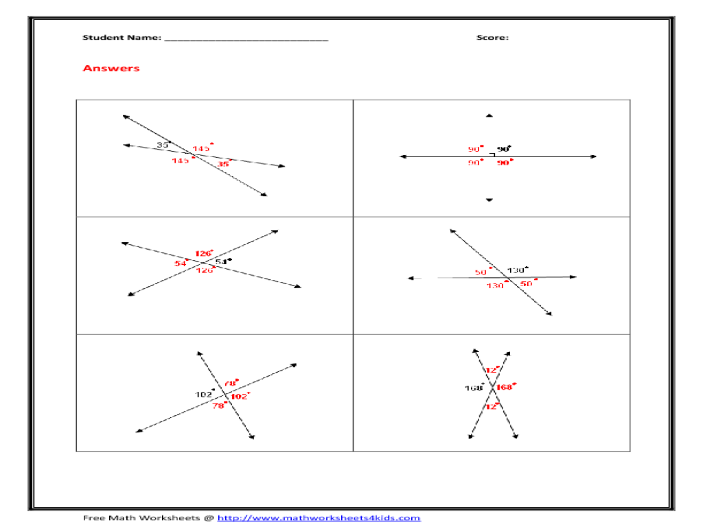 Finding Angle Measures Worksheet Answers Worksheets For All