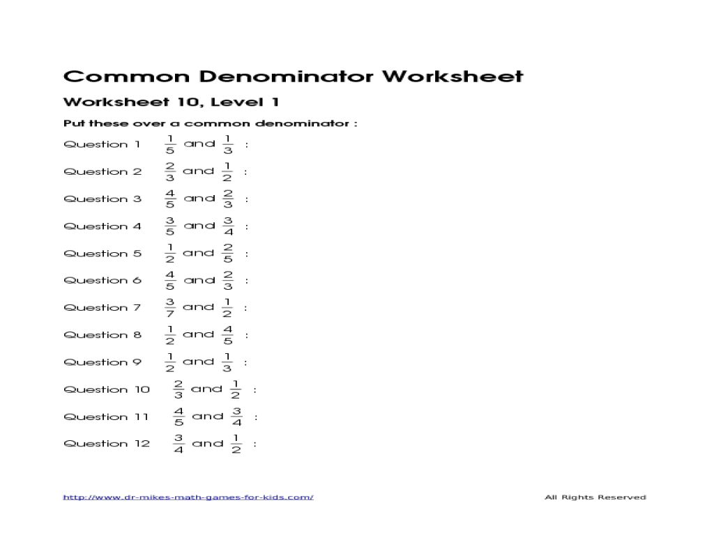 Finding Common Denominator Worksheet Worksheets For All