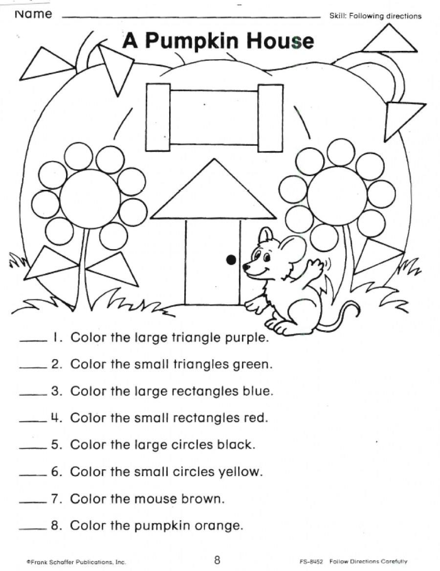 Following Directions Worksheet Kindergarten Free Worksheets Making