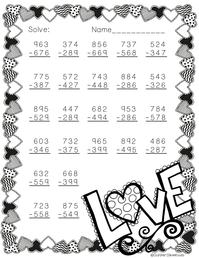 Free 3 Digit Subtraction Printable Math Worksheets With Regrouping