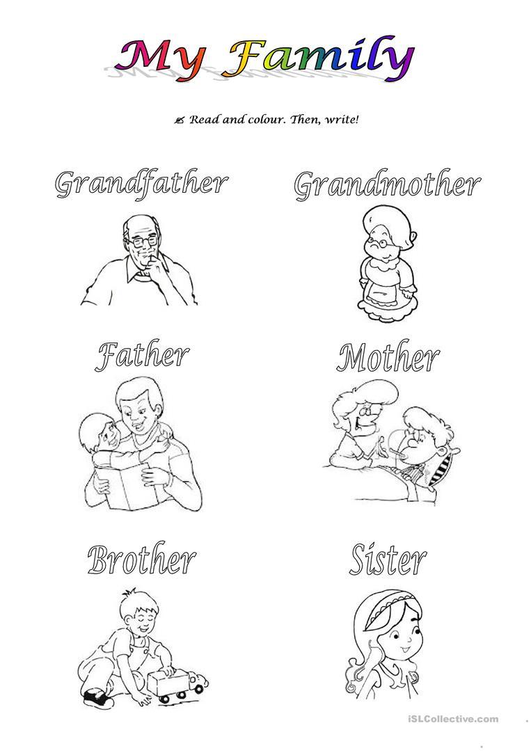 Free Esl Family Members Worksheets My For Preschoolers Matharten