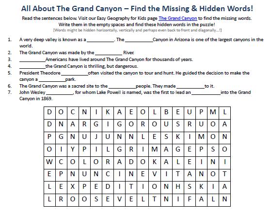 Free Esl Grand Canyon Worksheets For Kindergarten  Free  Best Free