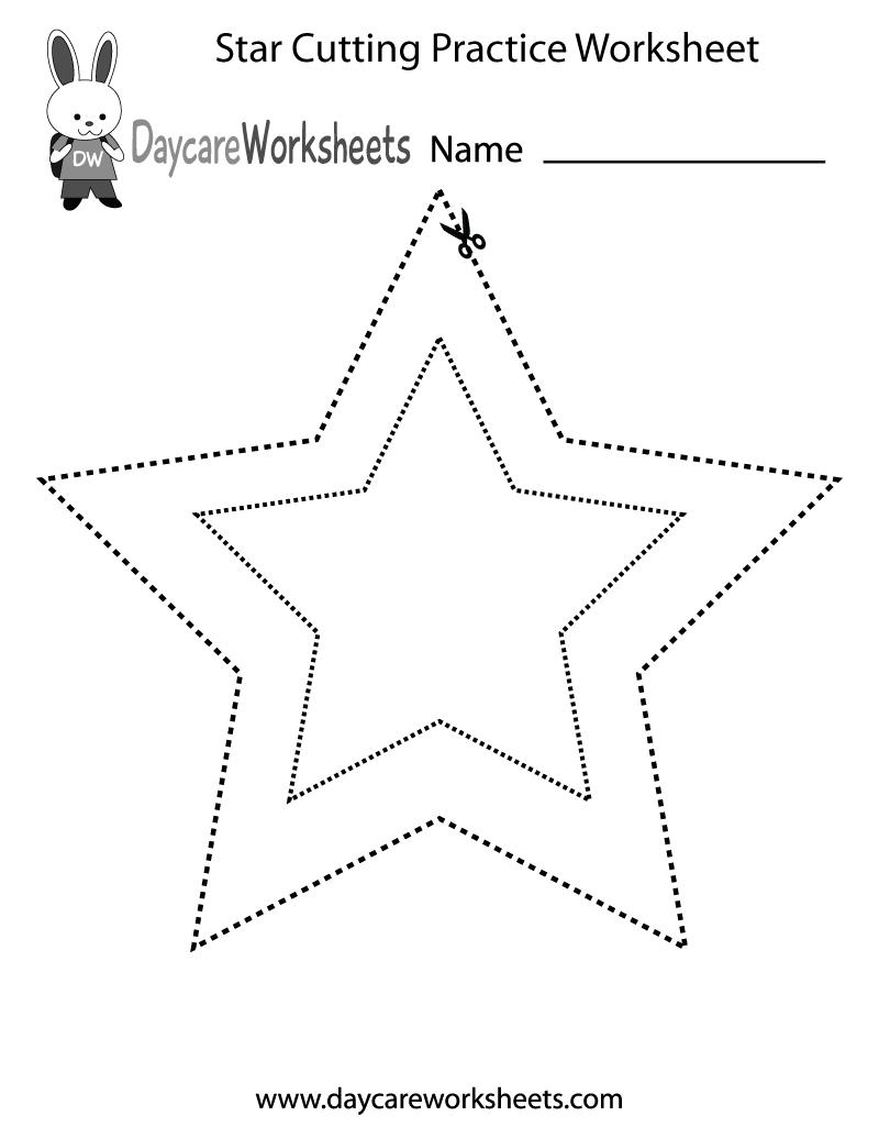 Free Preschool Star Cutting Practice Worksheet