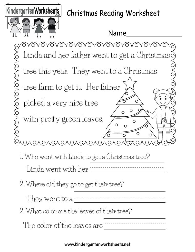 Free Printable Christmas Reading Worksheet For Kindergarten