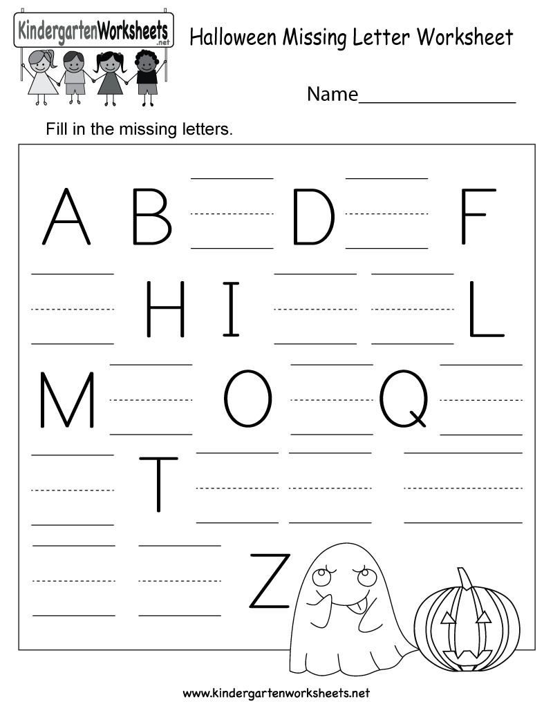 Free Printable Halloween Missing Letter Worksheet For Kindergarten