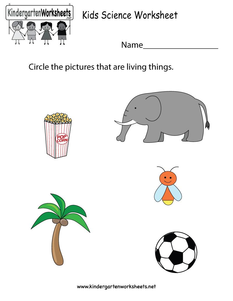 Free Printable Kids Science Worksheet For Kindergarten