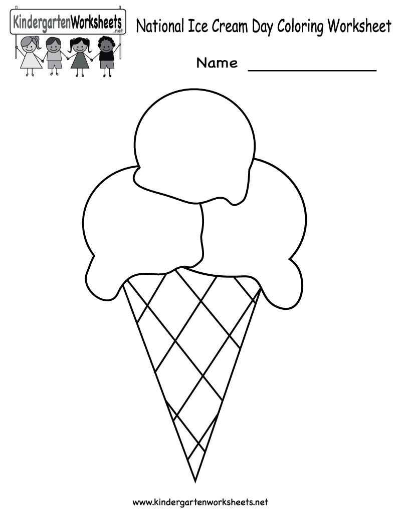 Free Printable National Ice Cream Day Worksheet For Kindergarten