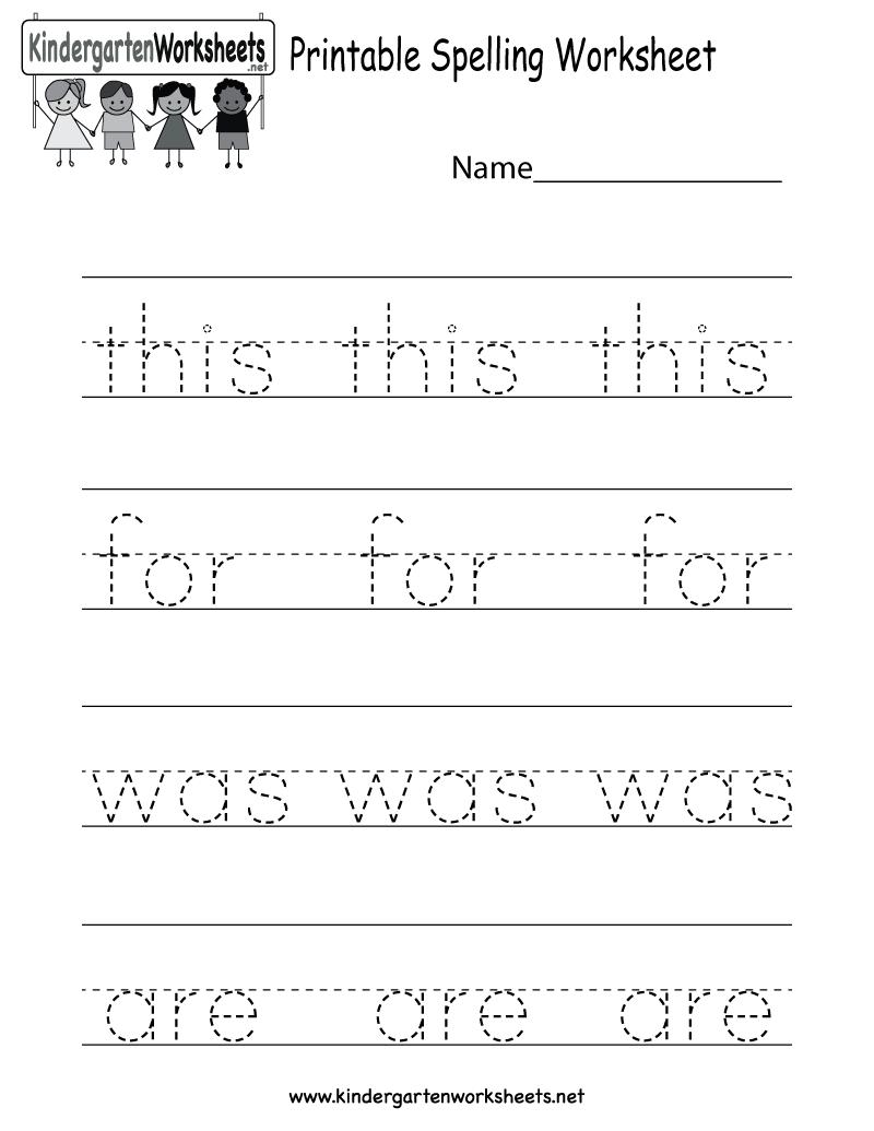 Free Printable Spelling Worksheet For Kindergarten